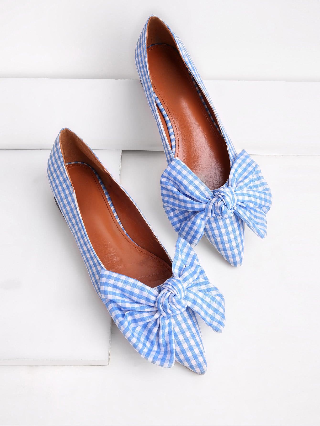 Фото Bow Tie Decorated Pointed Toe Gingham Flats. Купить с доставкой