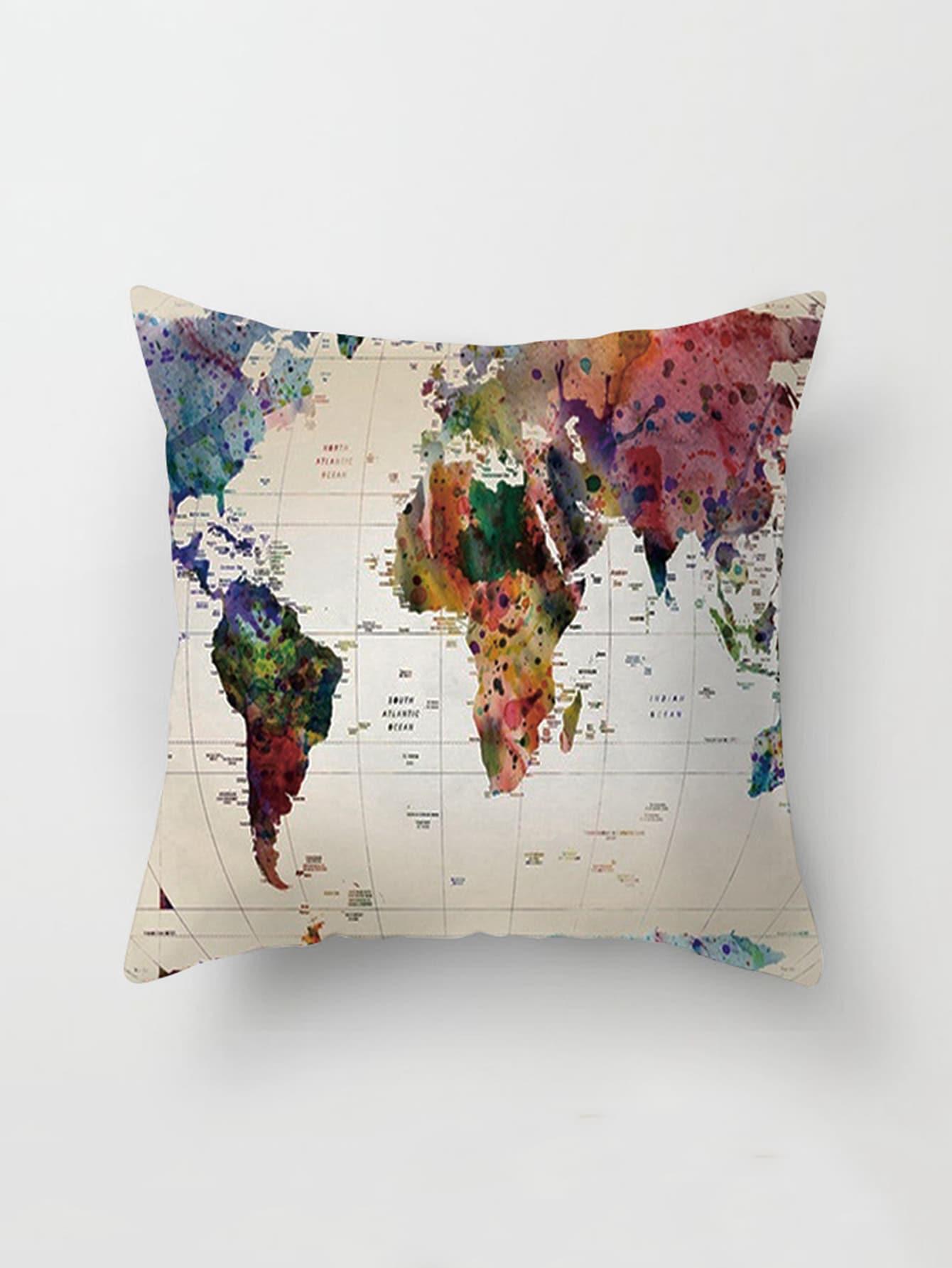 Map Print Pillowcase Cover