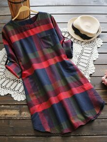 Rolled Sleeve Checked Dress With Chest Pocket