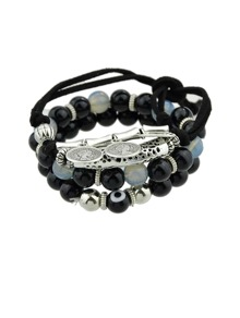 Black Color Multi-Layer Copper Beaded Bracelet
