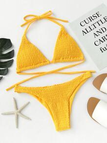 Tie Back Ruched Bikini Set