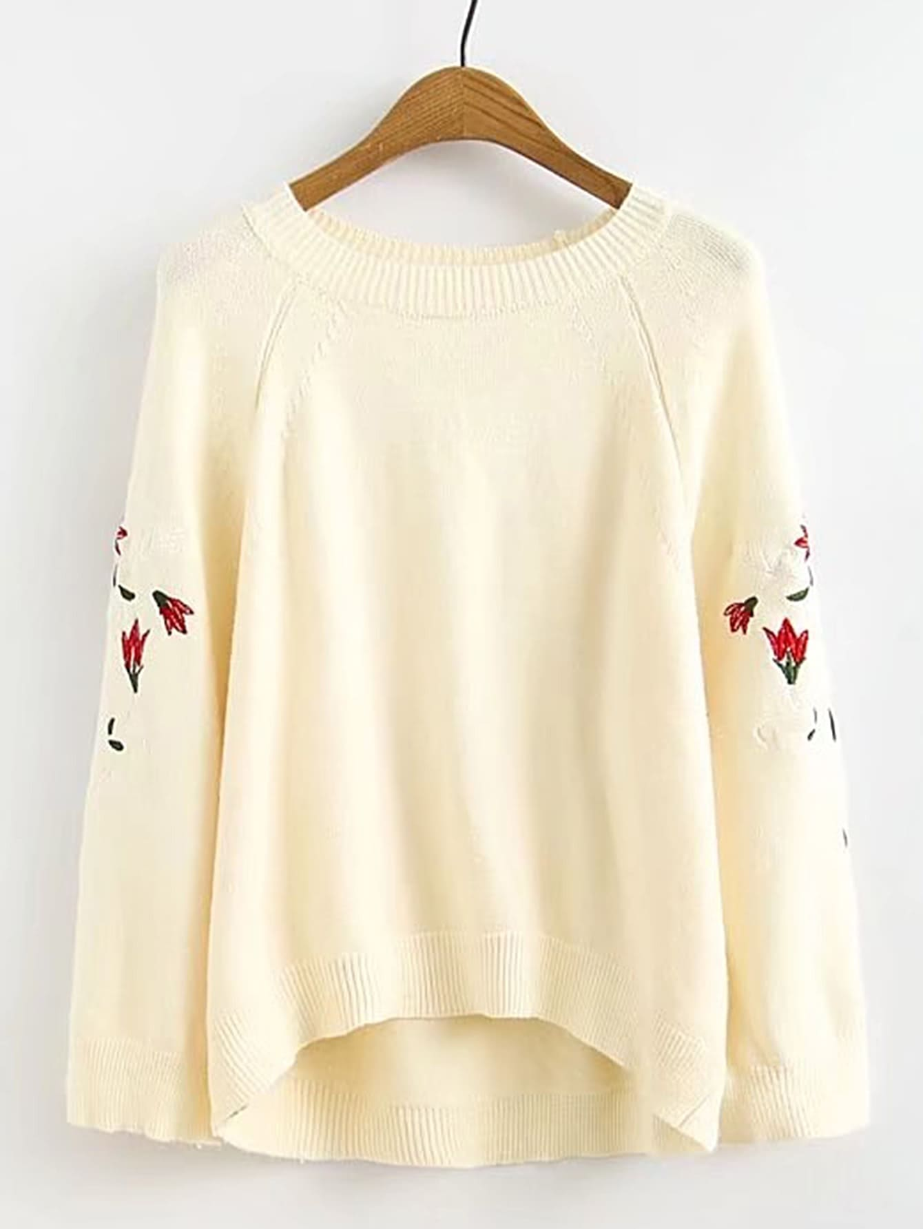 Фото Raglan Sleeve Flower Embroidery High Low Sweater. Купить с доставкой