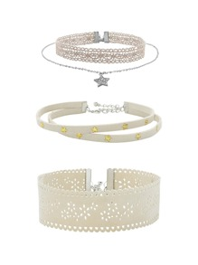 Cut Out Wide Choker & Star Design Layered Necklace
