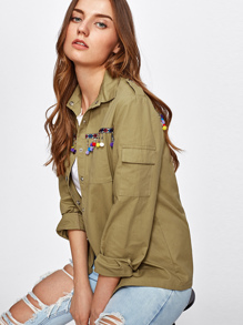 Pom Pom Fringe And Embroidered Tape Detail Shirt Jacket