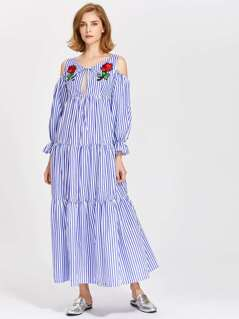 Embroidered Flower Patch Keyhole Front Tiered Dress