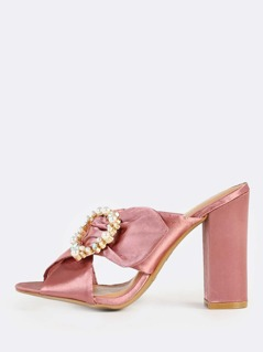 Satin Cross Band Mules MAUVE