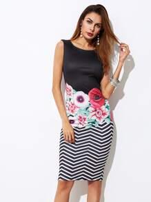 Mixed Print Form Fitting Dress