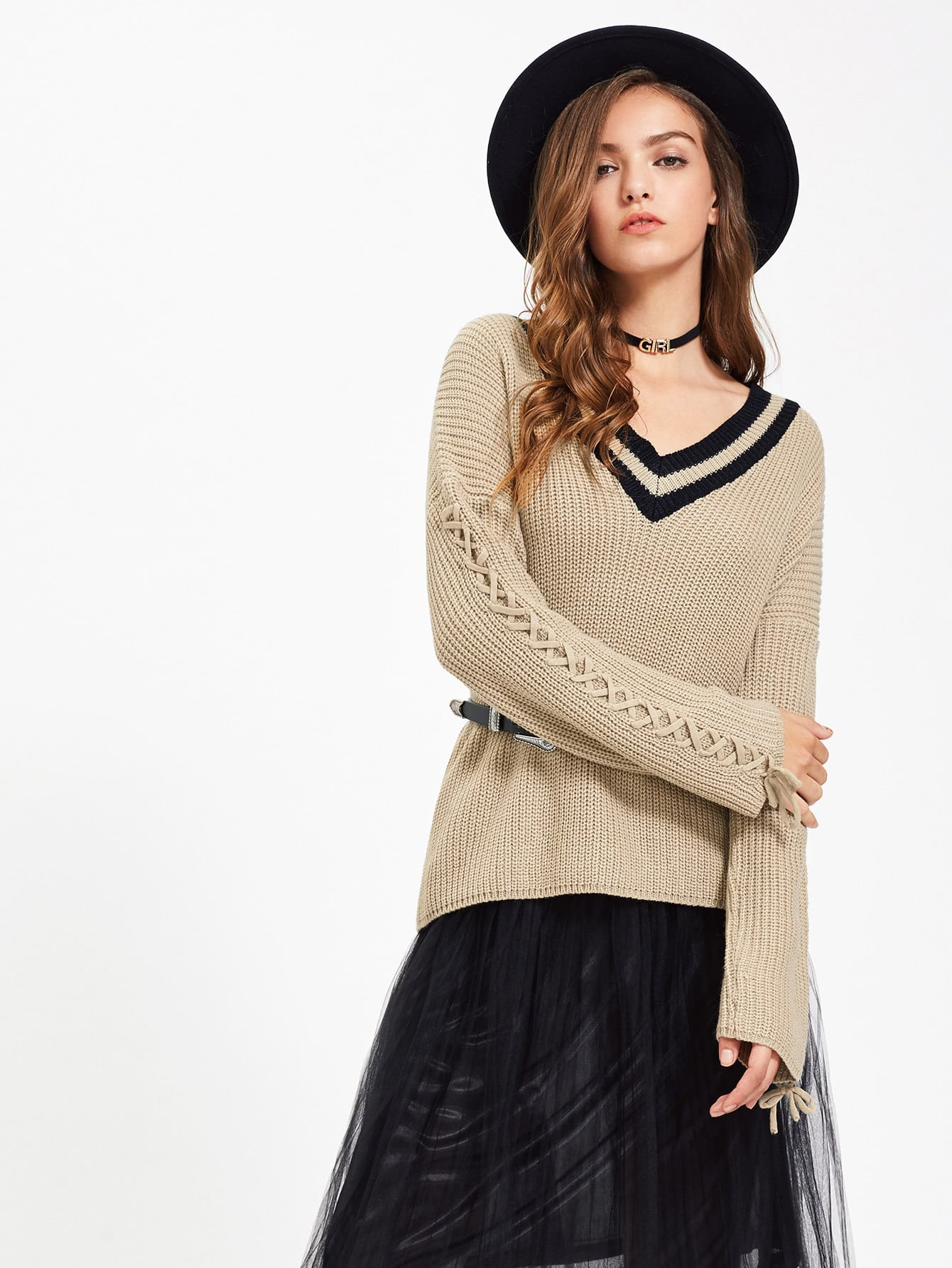 Striped Neck Lace Up Sleeve Jumper sweater170710485