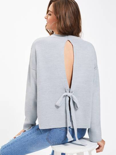 Drop Shoulder Tied Split Back Boxy Jumper