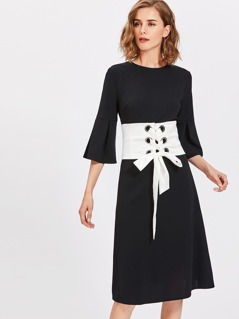 Pleated Fluted Sleeve Dress With Corset Belt
