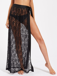 Satin Trim Self Tie Cover Up Lace Skirt