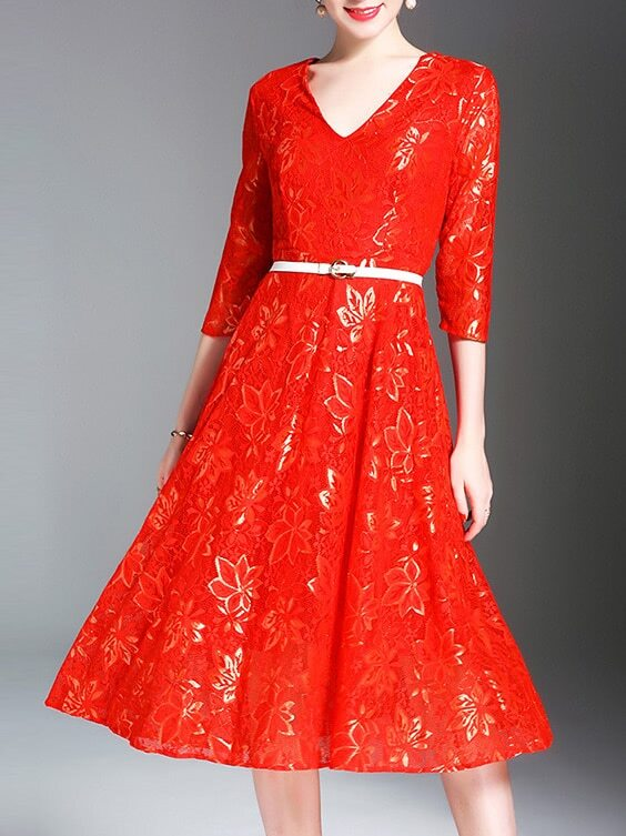Фото V Neck Belted Leaves Lace Dress. Купить с доставкой