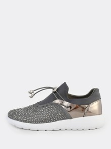 Crystal Drawcord Sneakers CHARCOAL