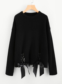Double Grommet Lace Up Hem Jumper