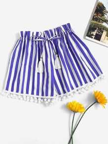 Vertical Striped Drawstring Waist Pompom Hem Shorts