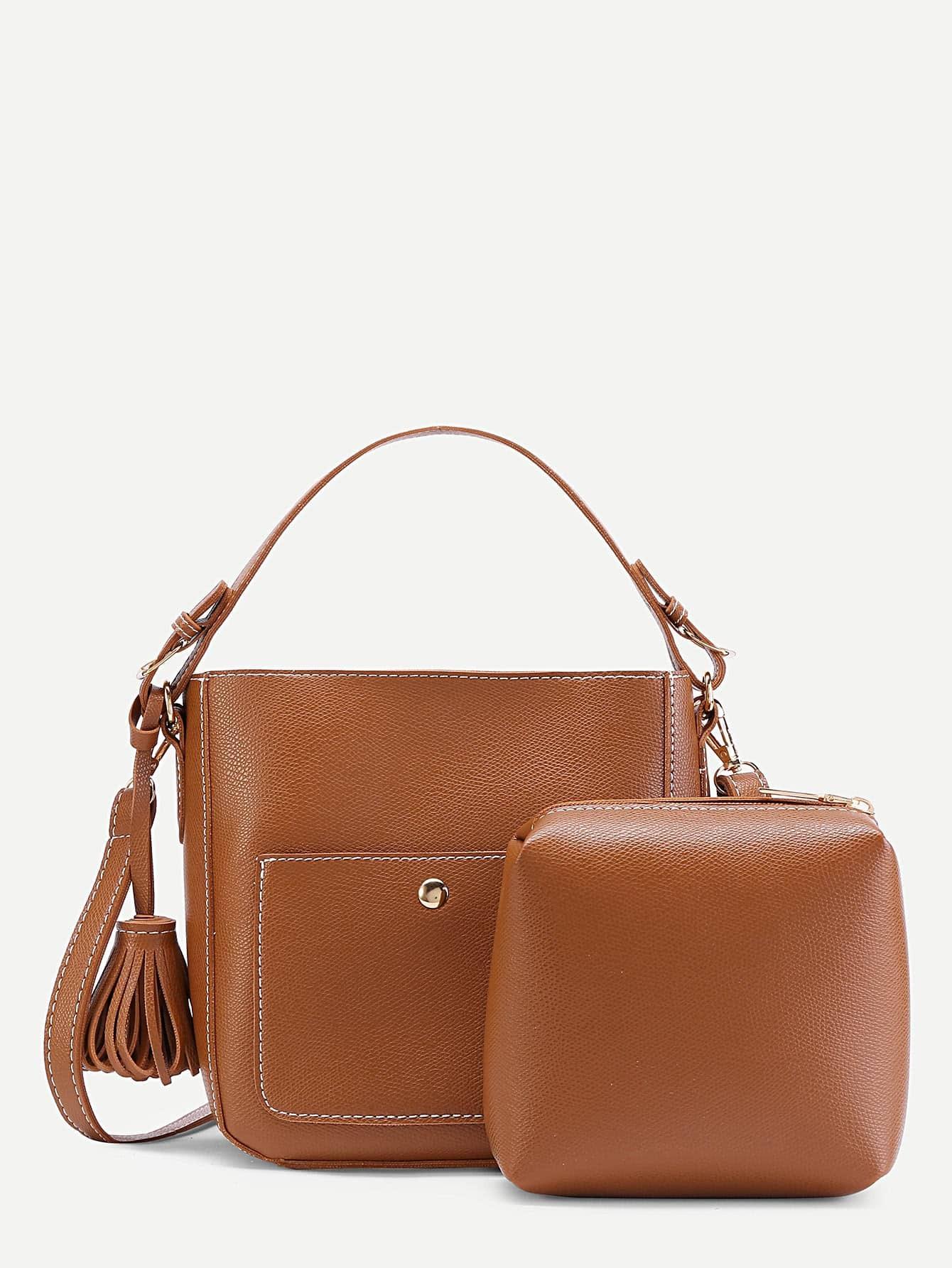 Фото Tassel Detail Shoulder Bag With Clutch. Купить с доставкой