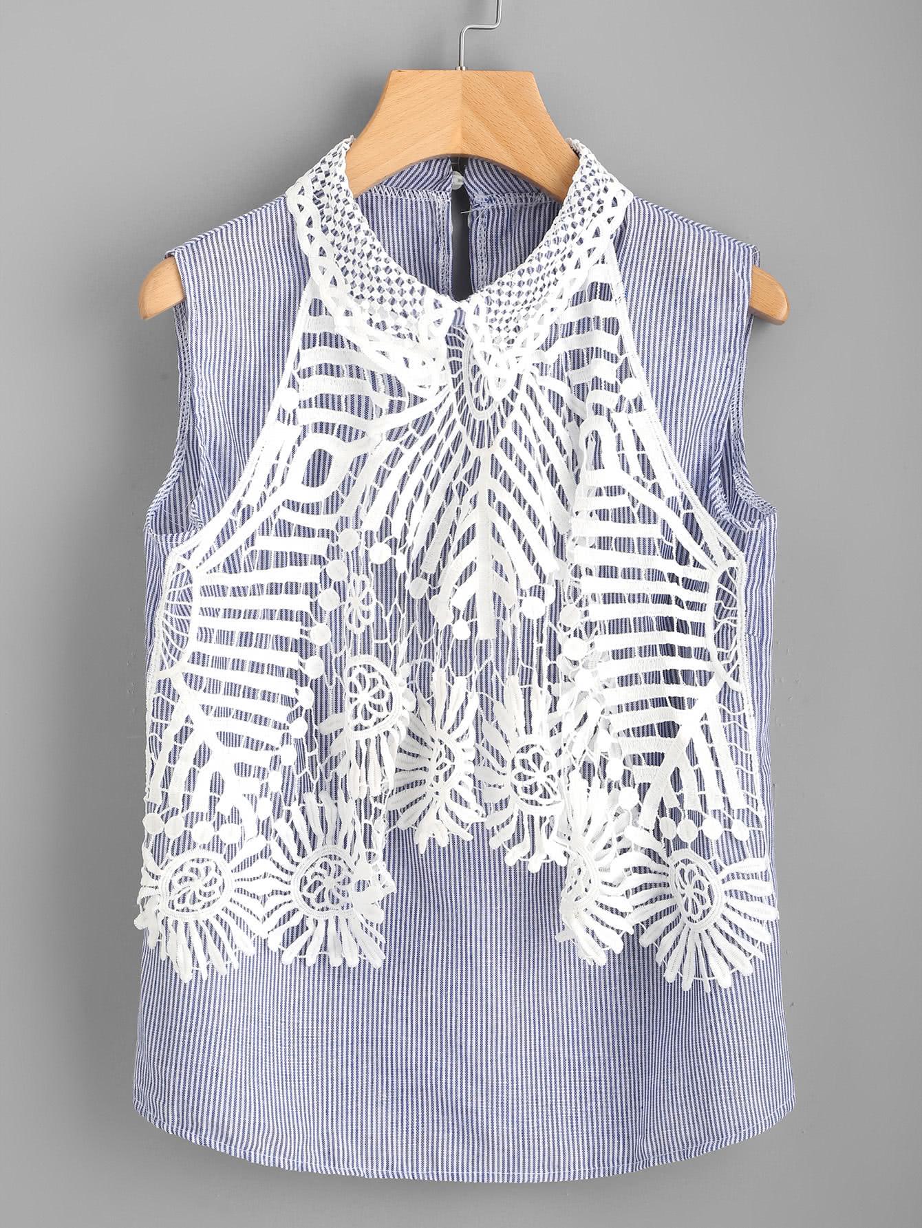 Фото Contrast Hollow Out Crochet Vertical Striped Top. Купить с доставкой