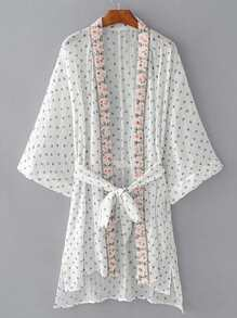 Open Front Embroidery Kimono With Self Tie