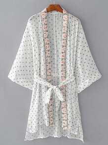 Aprire anteriore Ricamo Kimono con annodare