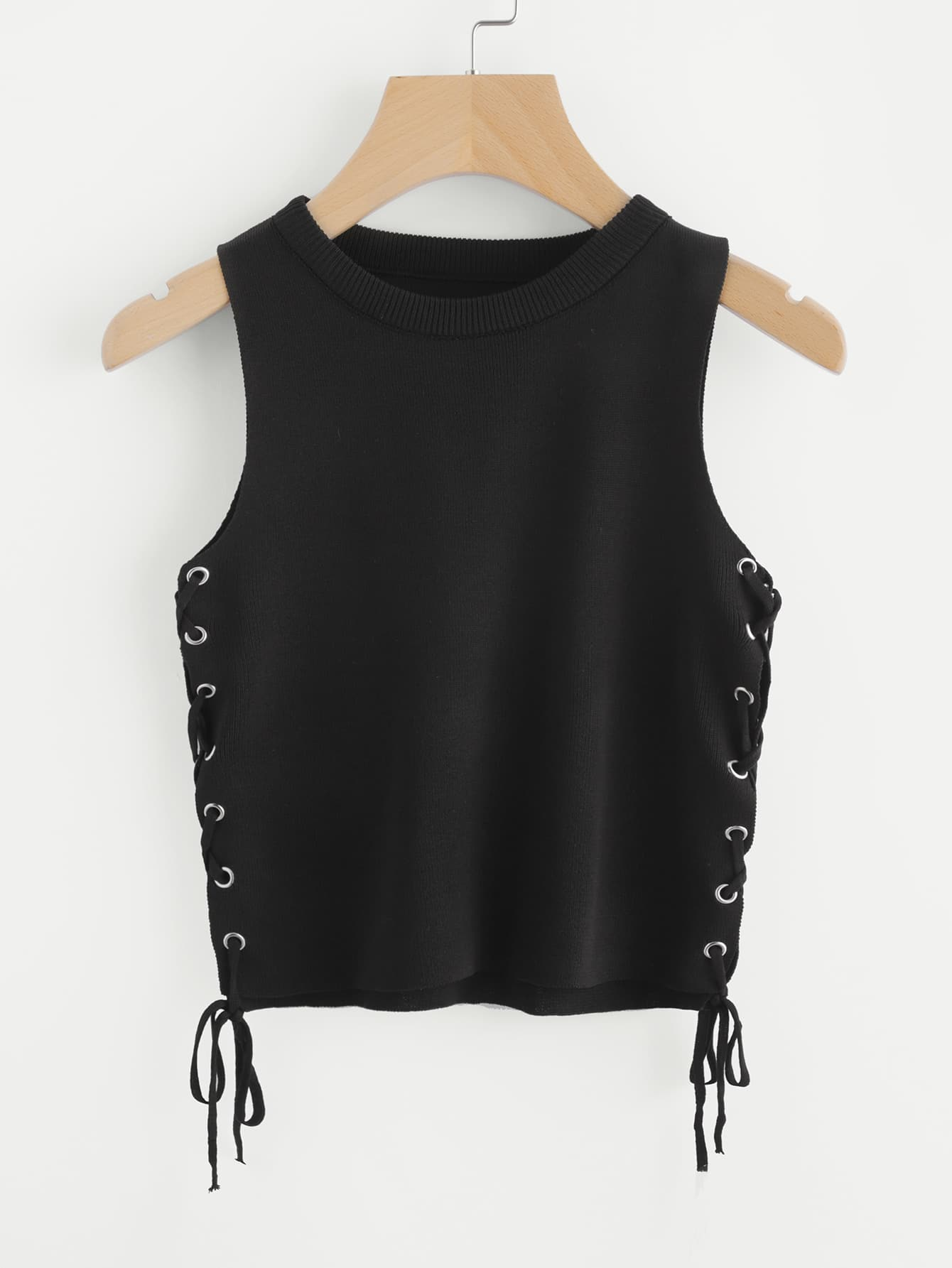 Grommet Lace Up Side Knit Tank Top striped grommet lace up dropped shoulder top