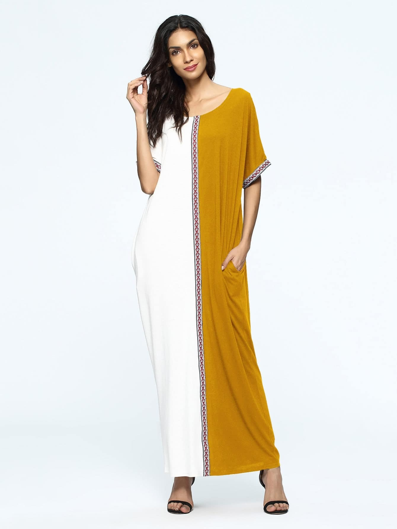 Фото Contrast Embroidered Tape Detail Dress. Купить с доставкой