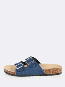 Double Buckle Denim Sandals BLUE DENIM