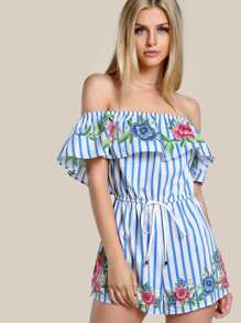 Floral & Striped Romper BLUE
