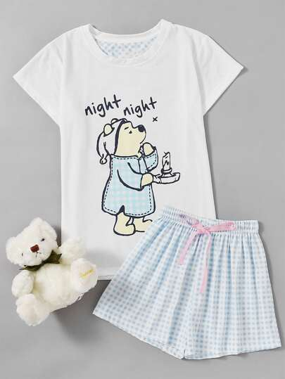Cartoon Print Tee And Shorts Pajama Set