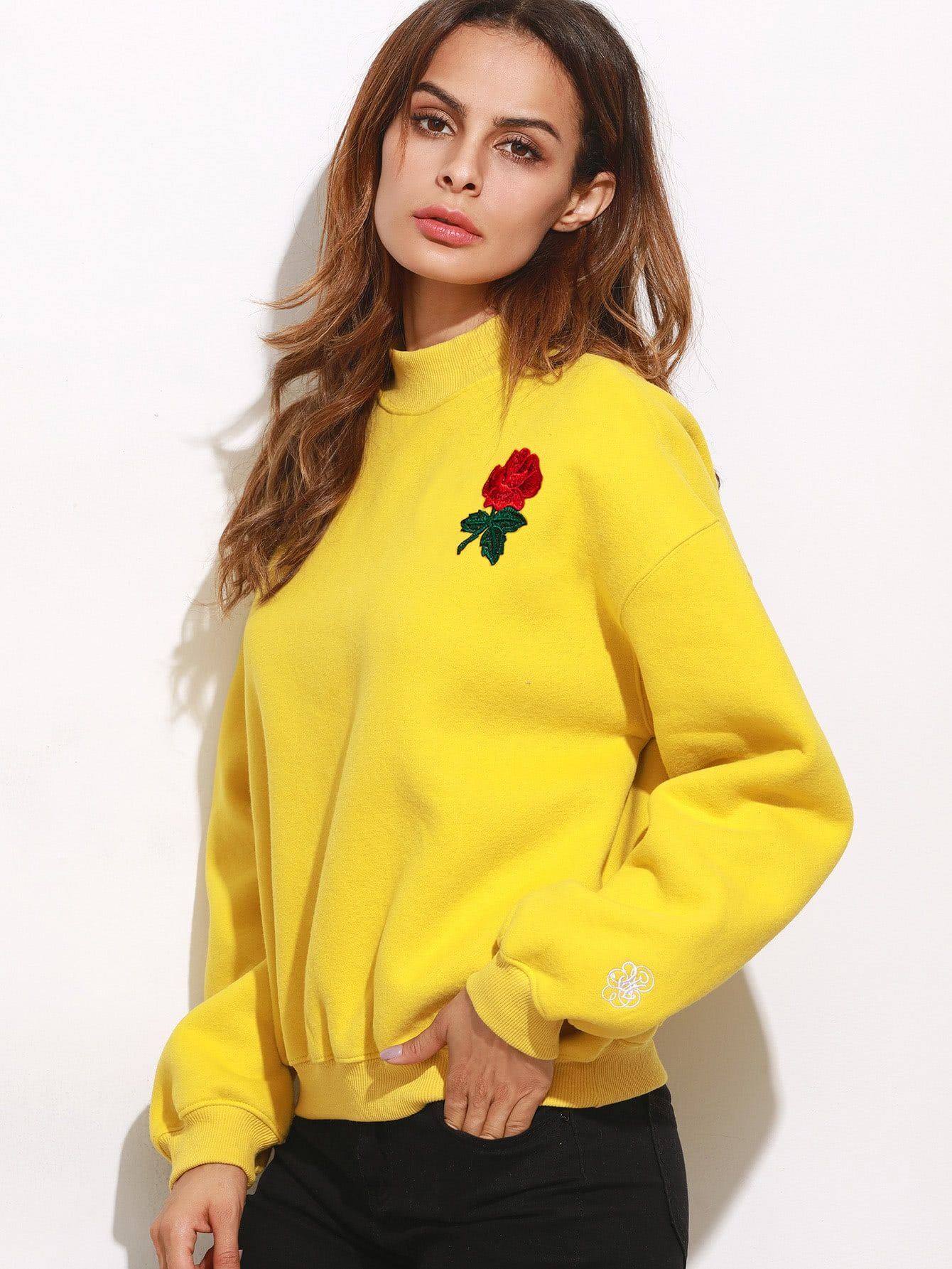 Mock Neck Drop Shoulder Embroidered Sweatshirt two tone drop shoulder sweatshirt