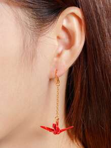 Paper Crane Design Drop Earring 1pc