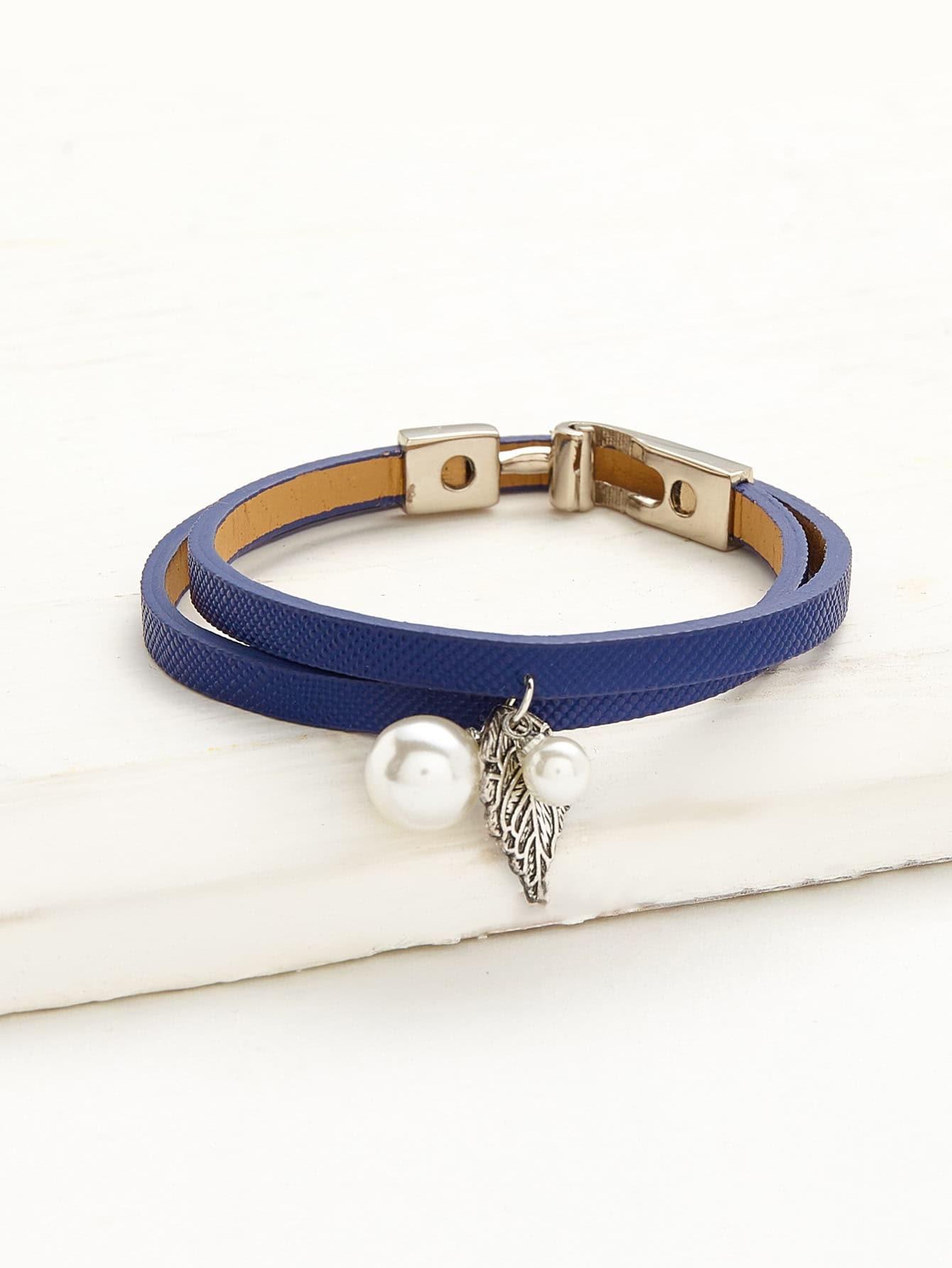 Фото Faux Pearl Detail Double Layer PU Bracelet. Купить с доставкой
