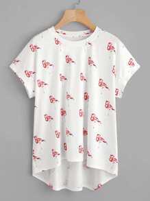 Flamingo Print Curved Back Slub Tee