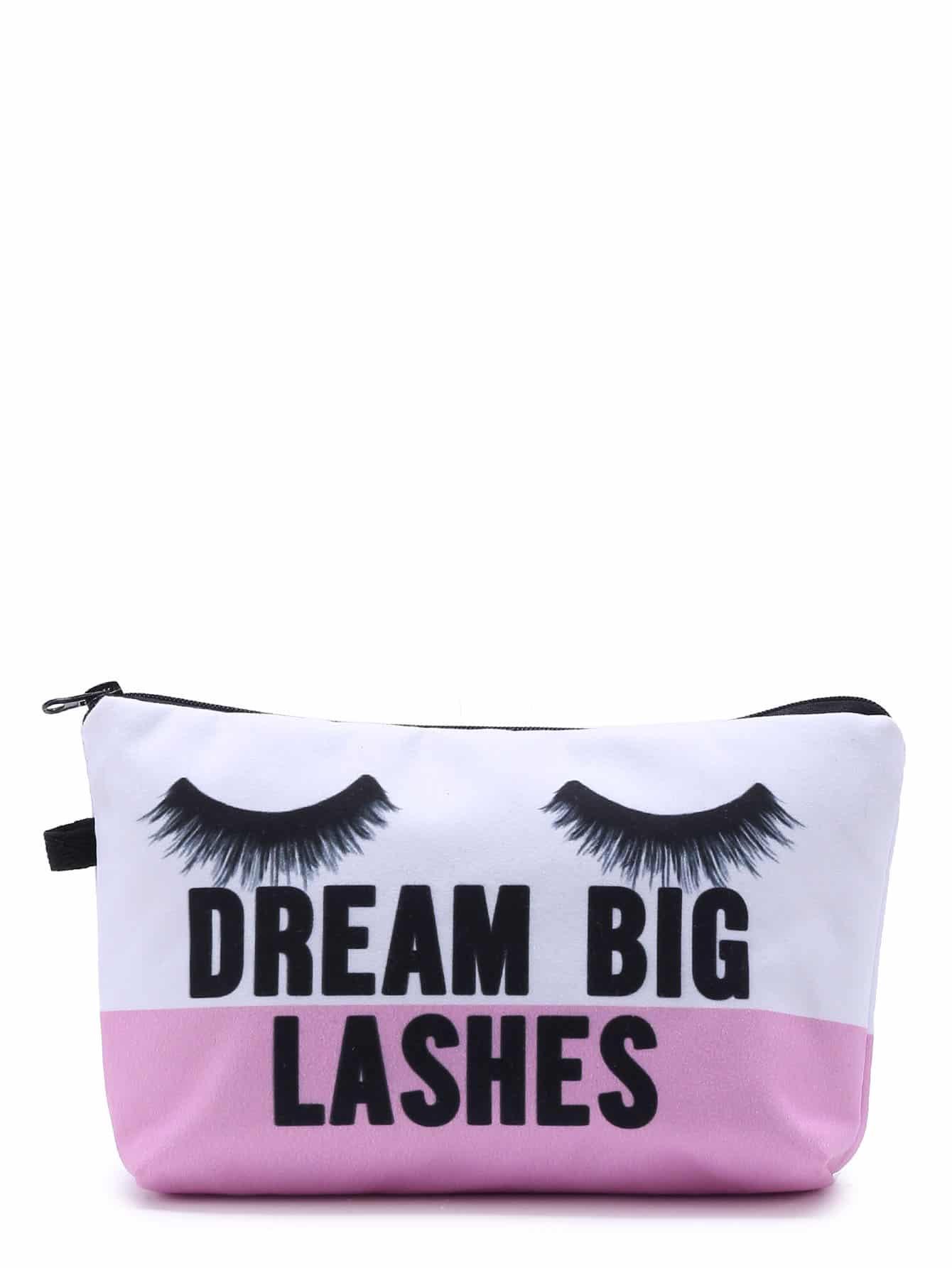 Eyelash Print Color Block Makeup Bag