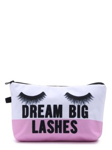 Eyelash Print Color Block Makeup Bag