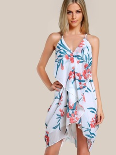 Flounce Trim Slim Racerback Draped Dress