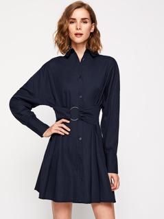 Drop Shoulder O-Ring Belt Detail Shirt Dress