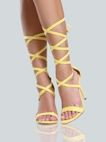 Lace Up One Band Open Toe Heels YELLOW