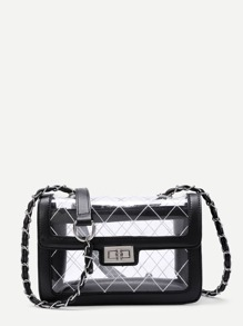 Twist Lock Flap PU Cross Body Bag