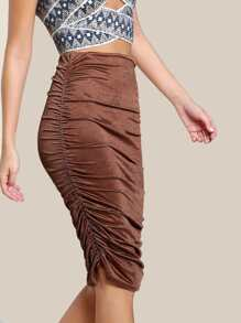 Ruched Bodycon Skirt BRONZE