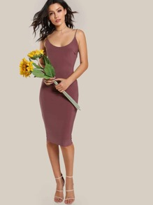 Spaghetti Strap Low Back Bodycon Dress RED BROWN