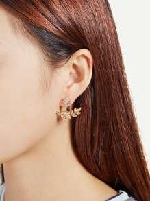 Leaf & Flower Design Rhinestone Stud Earrings