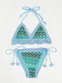 Conjunto de bikini tejido con dibujo de zigzag
