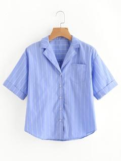 Cuffed Sleeve Dolphin Hem Pinstripe Pajama Shirt