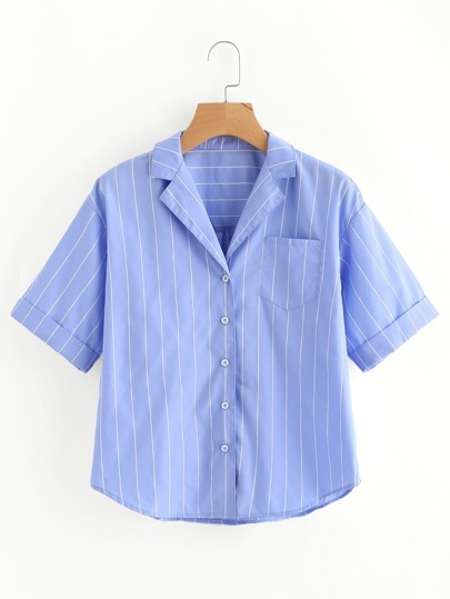 Blusa de pijama de rayas con bajo redondeado