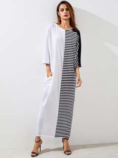Striped Cut And Sew Cocoon Dress