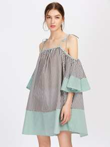 Tie Shoulder Flute Sleeve Vertical Striped Dress