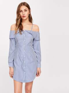 Flounce Trim Curved Hem Pinstripe Shirt Dress