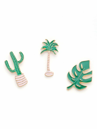 Plant Design Brooch Set 3pcs