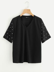 Pearl Beaded Sleeve T-shirt