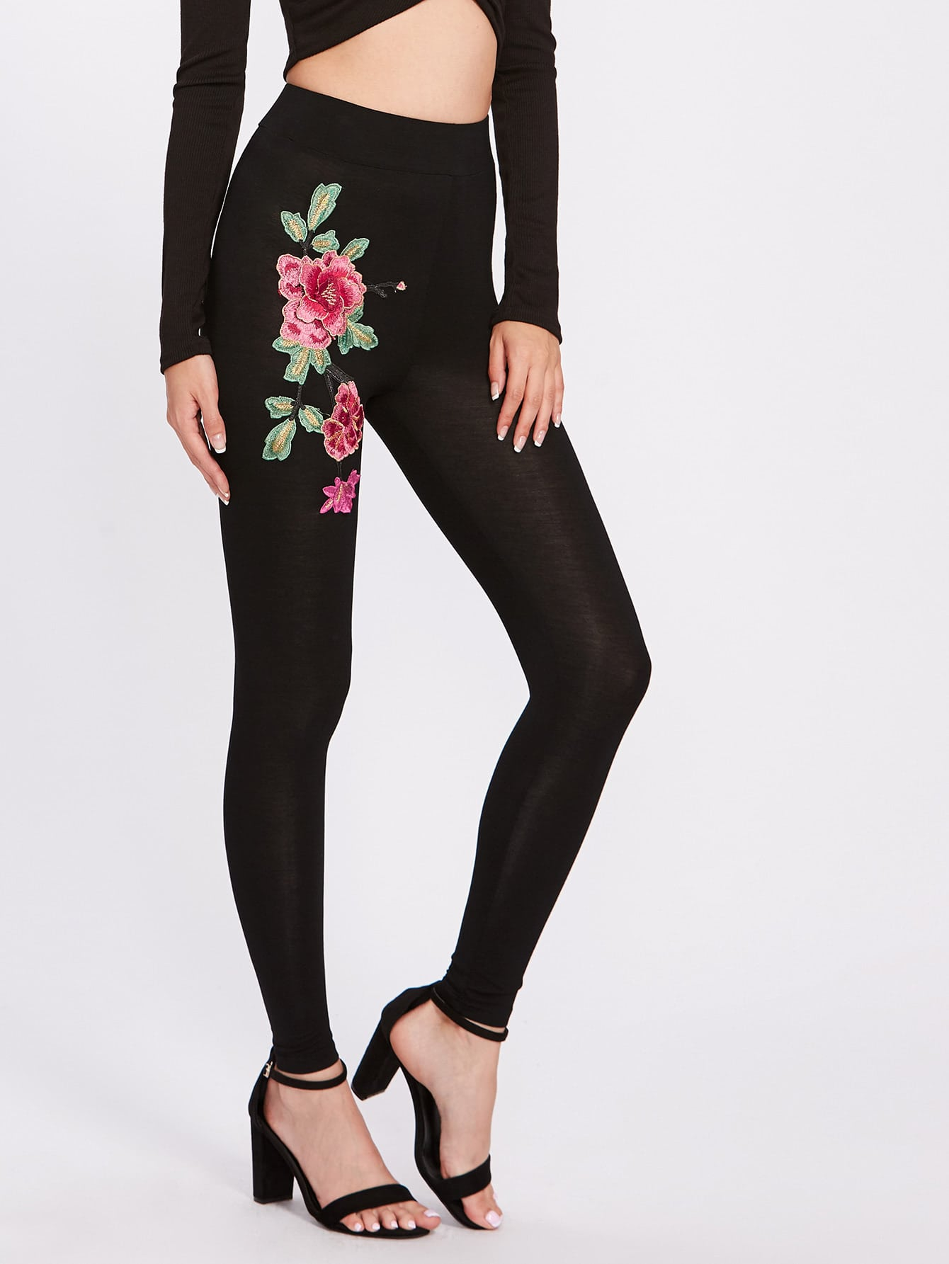 Embroidered Flower Applique Leggings